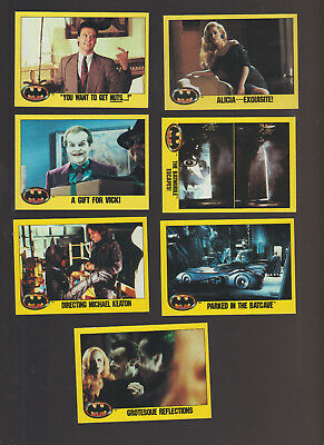 Lot of 7 Batman movie trading cards yellow border Pub. 1989