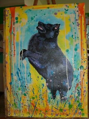 """HP Schipperke BIG WALL HANGING painting hand painted dog art canvas roll 24"""" WOW"""