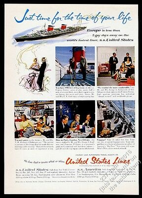 1955 Tennessee Williams George S. Kaufman photo SS United States ship print ad