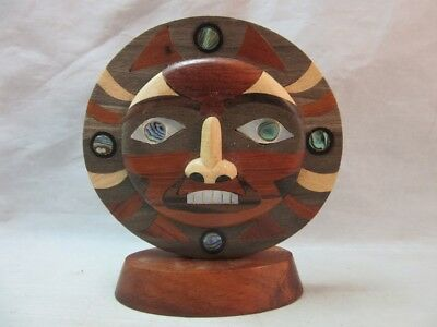 Wood marquetry inlay, abalone shell tribal Sun face mask figurine