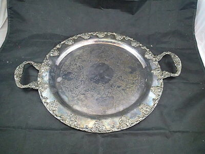 "N.S.Co. Silver on Copper D-7 Vintage Round Serving Tray Grape Design 14 1/2"" Dia"