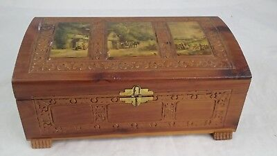 Vintage Decorative Wooden Cedar Box Decoupage Homestead Etched Scenes