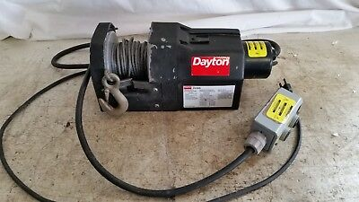 Preowned DAYTON 3VJ63 Electric Winch, 1000 Lb, 0.6 HP, 115 VAC,10 Amp working