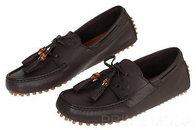facbb63cbb6 New Gucci Men s Brown Unlined Leather Lace-Up Driver Moccasins Shoes 7 G us
