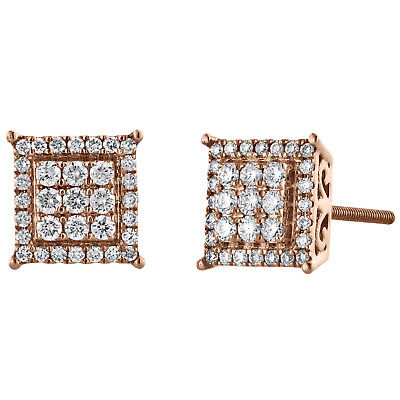 14K Rose Gold Cluster Round Diamond 4 Prong Square Halo Stud Earrings 0.25 CT.