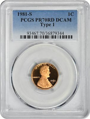 1981-S Type 1 Lincoln Cent PR70RD DCAM PCGS Proof 70 Red Deep Cameo