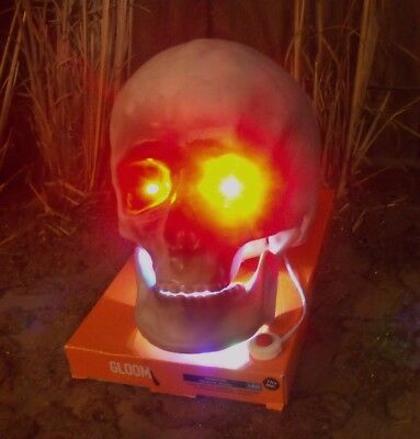 Halloween Animated Moving Mouth Lighted Life Size Skeleton Skull Figure Prop New