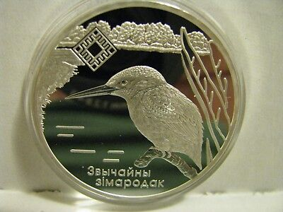 2008  Belarus Silver Coin     Kingfisher Bird         20 Rubles
