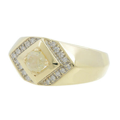 Men's Vintage Classic Estate 14K Round Diamond Signet Ring Band - 0.86CTW