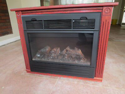 Strange Heat Surge Electric Fireplace In Amish Cherry Wood With Remote Control Interior Design Ideas Inesswwsoteloinfo