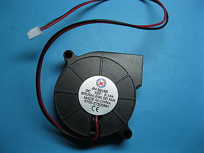 6 pcs Brushless DC Blower Fan 12V 5015S 50x50x15mm 2 Wires Sleeve-bearing New