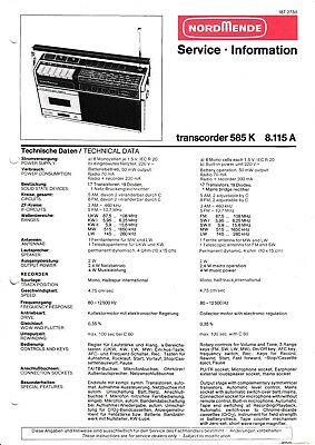 981.115 H Tv, Video & Audio Service Manual-anleitung Für Nordmende Discocorder Rk 4186