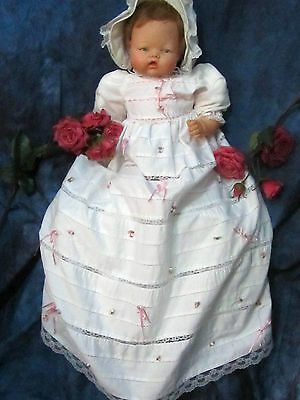 VINTAGE handmade DOLL dress CHRISTENING gown PINK ribbons LACE inserts LAYERS