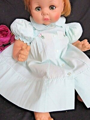 """VINTAGE 1960s Doll CLOTHES baby DRESS mint green PIN STRIPE pinafore fits 20-26"""""""