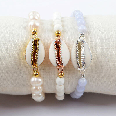 5Pcs Natural Cowrie Shell & 6~8mm Pearl Chalcedony Bracelet Mixed Plated BG1552