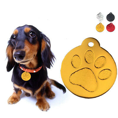 1x Round Paw Alloy Dog ID Name Tag Disc Personalised Engraved Pet Identity Tags