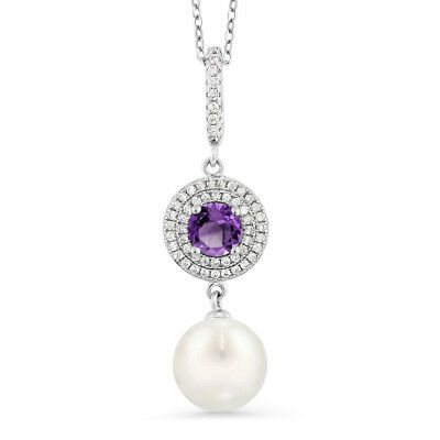 1.27 Ct Round Purple Amethyst 925 Sterling Silver Shell Pearl Pendant