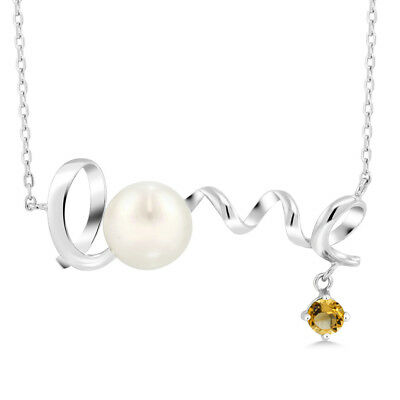 0.32 Ct Round Yellow Citrine 925 Sterling Silver Pearl Pendant With Chain