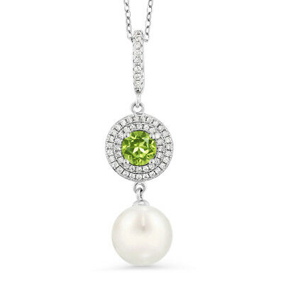 1.29 Ct Round Green Peridot 925 Sterling Silver Shell Pearl Pendant