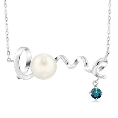 0.37 Ct Round Blue Diamond 925 Sterling Silver Pearl Pendant With Chain