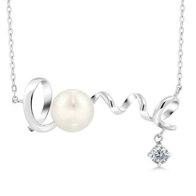 0.40 Ct Round G/H Diamond 925 Sterling Silver Pearl Pendant With Chain