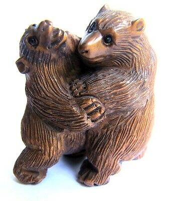 "Y096 --- 2"" Hand Carved Japanese Boxwood netsuke : 2 Bears Stunning"