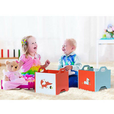 Kids Wooden Fox Stackable Large Storage Box Toy Children Playroom Storage Chests