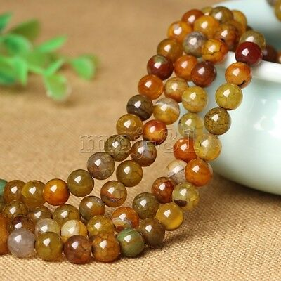 6/8/10mm Natural Yellow Dragon Veins Agate Onyx Round Gems Loose Beads 15'' AAA