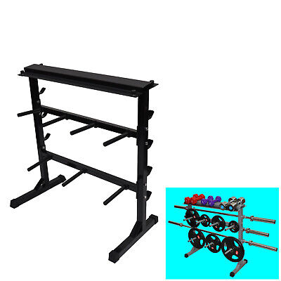Home Gym - Weight Plate - Barbell  Bar - Dumbell Weight Storage Rack - 300kg+