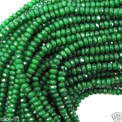 "2x4mm Natural Faceted Green Emerald Rondelle Gemstone Loose Beads 15"" AAA"