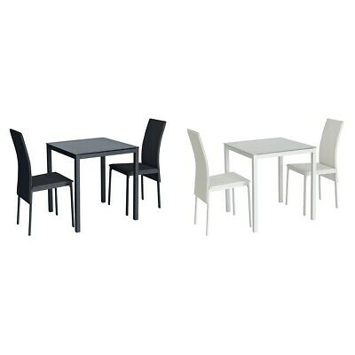 41df3861b6d ARGOS HOME LIDO Glass Dining Table   2 Chairs - Black   White ...