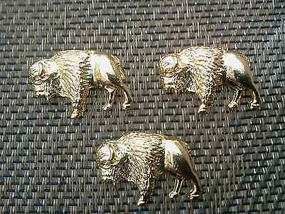 Wild West Zoo Animal Jewelry 3 Gold Buffalo Bison Pins All New.