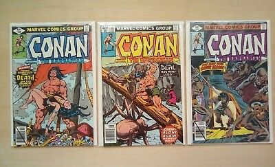 3 Issues Of Conan The Barbarian #100,101,102 Marvel Comics 1979 All Fine
