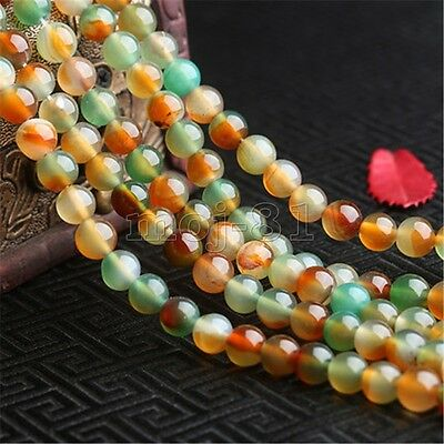 "6 8 10 12MM Natural Peacock Agate Gemstone Round Loose Beads Strand 15"" AAA"