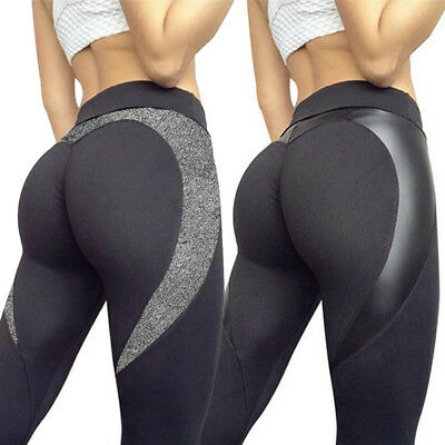Womens Black Heart Booty Shaped Activewear Leggings Patchwork Skinny Sport Pants