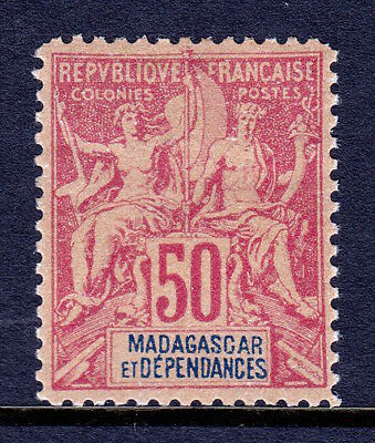 MADAGASCAR — SCOTT 43 — 1896 50c NAVIGATION & COMMERCE — MH — SCV $14.50