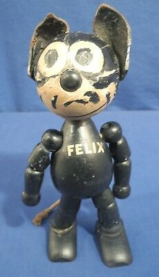 """Vintage 1925 Jointed Wood Felix the Cat Doll with Leather Ears 8"""" Tall Sullivan"""