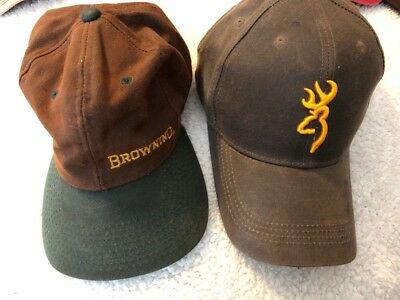 info for e5949 f985a ... inexpensive vtg lot browning dura wax cap mens brown hat water  resistant hunting strapback 9802a d60fb