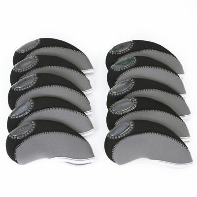 10pcs Golf Head Cover Club Wedge Iron Protective Headcovers Neoprene Putter Set