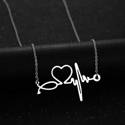 Silver Nurse ECG Stethoscope 316L Stainless Steel Titanium Pendant Necklace
