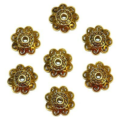 ML5195 Antiqued Gold 12mm Open Scalloped Flower Metal Bead Caps 50pc