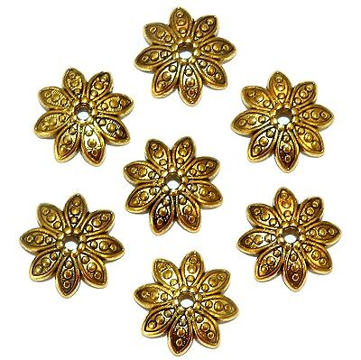 ML5199 Antiqued Gold 14mm Round 8-Petal Pointed Flower Metal Bead Caps 100pc