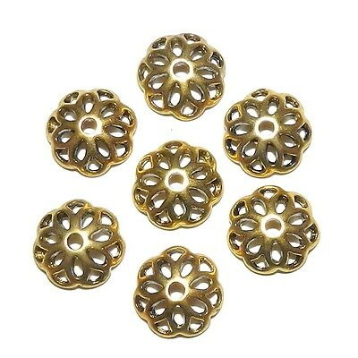 ML596 Antiqued Gold 12mm Open Flower Round Zinc Alloy Metal Bead Caps 100pc