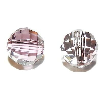 SCD1109 Antique Pink 8mm Faceted Chessboard Round Swarovski Crystal Beads 2pc