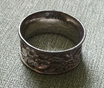 "Antique 1900s -5/8"" ART NOUVEAU FLORAL RELIEF SILVER NAPKIN RING SIGNED ALICE"