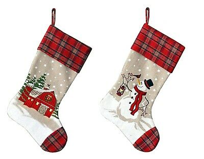"""Fabric Christmas Stocking Snowman or Barn LED Lighted Holiday Home Decor 18"""" NEW"""