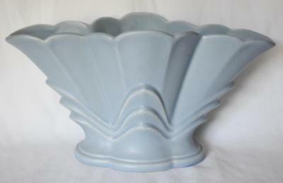 Lovely Rare Large Art Deco Blue Rumrill Flared Vase With Original Rumrill Label