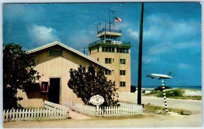 Johnston Atoll  JOHNSTON AIR FORCE BASE Post Office Tower Plane Airport Postcard