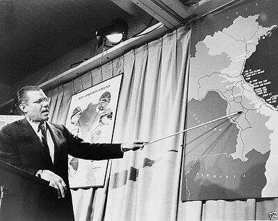 Secretary Defense Robert McNamara points to map of Vietnam 1965 - New 8x10 Photo