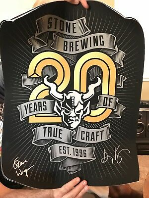 Stone Brewing Company Collectors Poster 20th Anniversary Signed by Owners - NEW